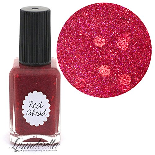 Lynnderella Nail Polish—Red Ahead—Accented Red Micro Glitter (Accented Matte)