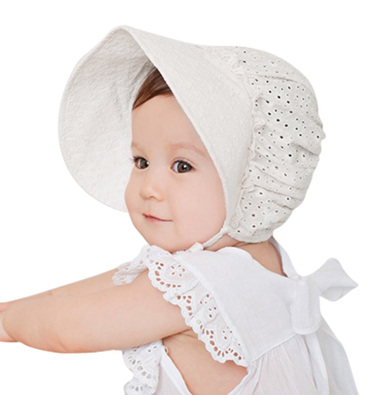 Sumolux Cappello Sole in Cotone Merletti in Pizzo Cappellino Beanie Principessa Orlo Largo per Bambini Neonati SZ-07-1