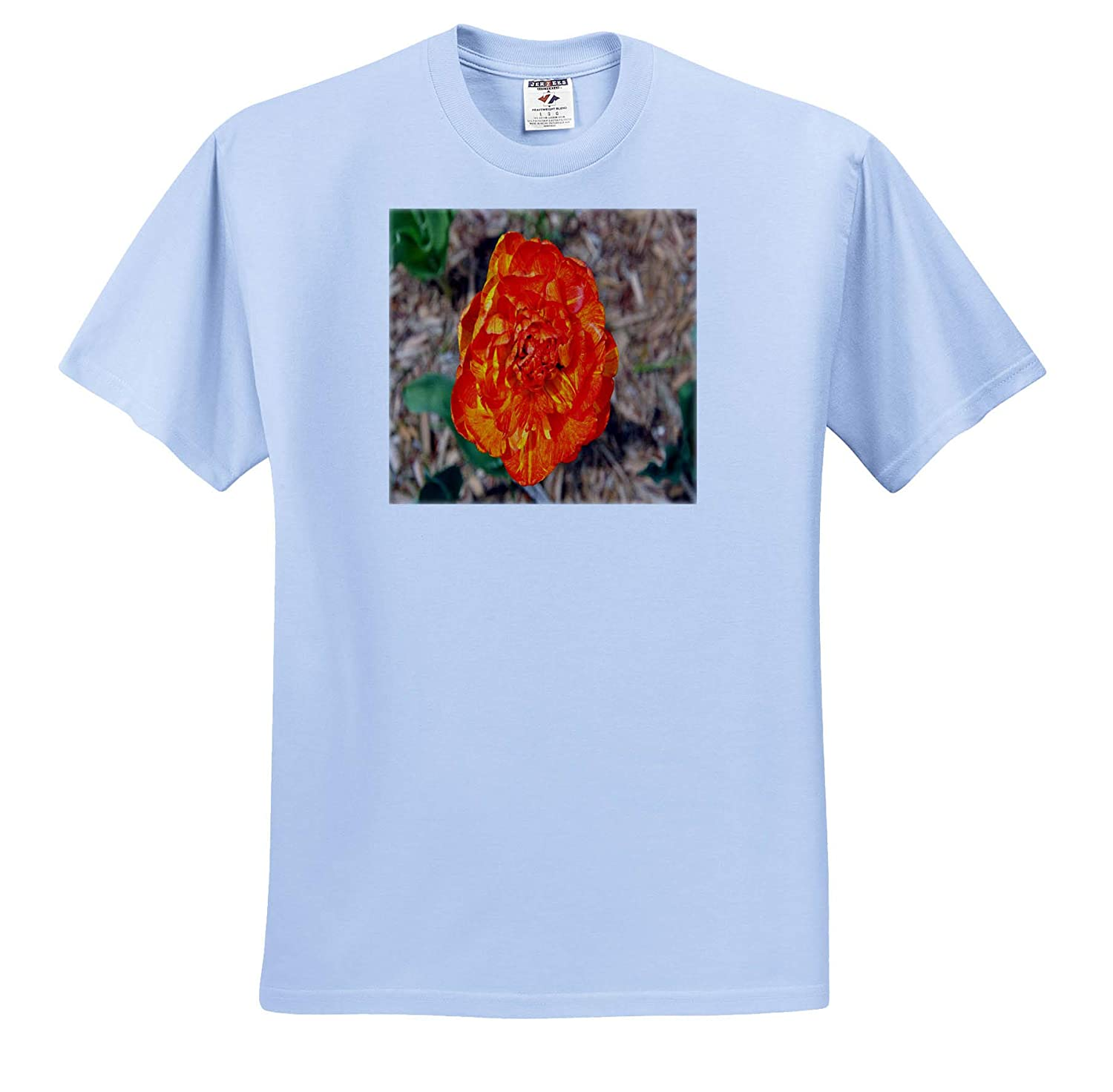Flowers Orange and Yellow Double Tulip Adult T-Shirt XL 3dRose Dreamscapes by Leslie ts/_314269