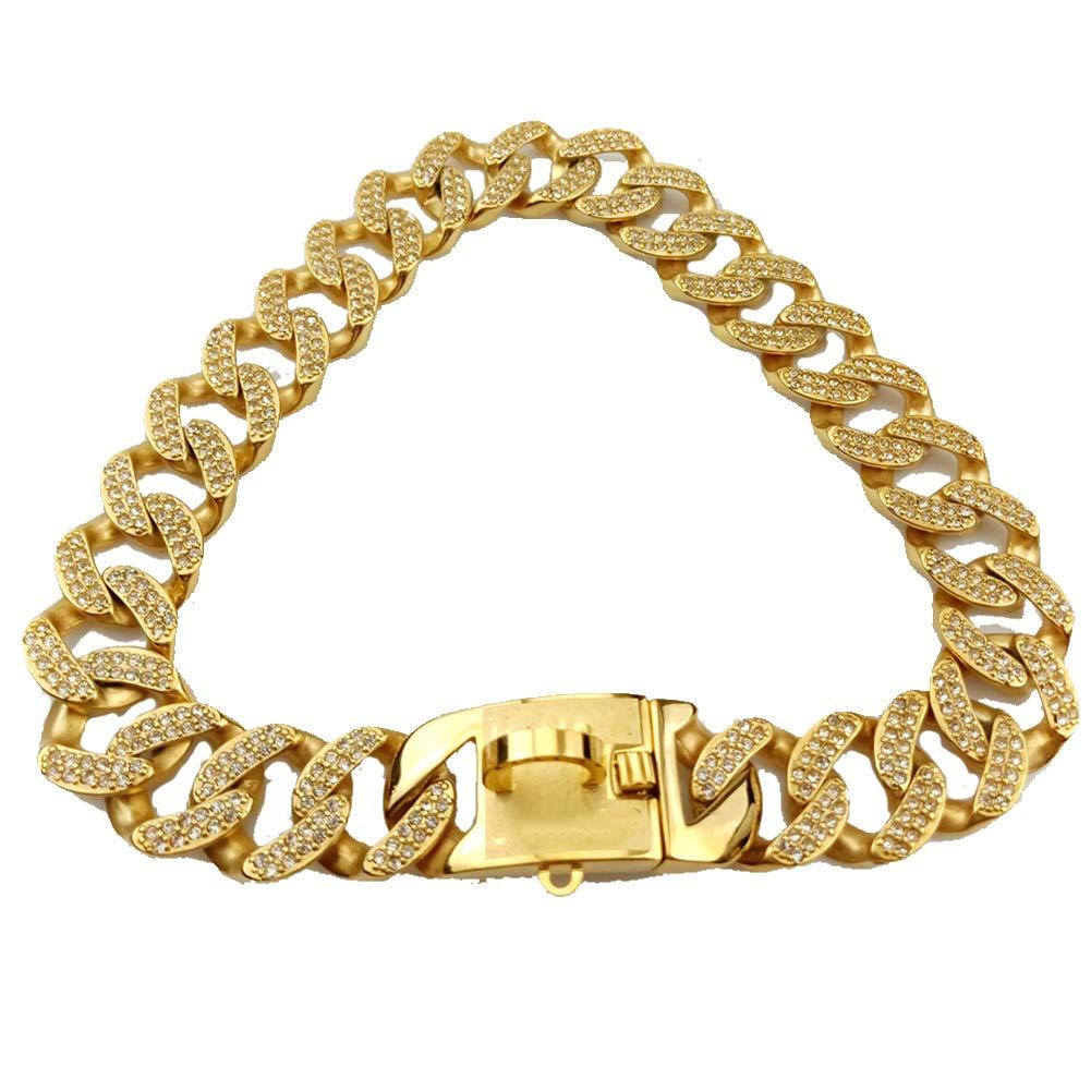 32 Mm Wide Hip Hop Gold Tone Cut Curb Cuban Link 316L Stainless Steel Dog Choke Chain Collar 45-75CM,Gold,XXXXL