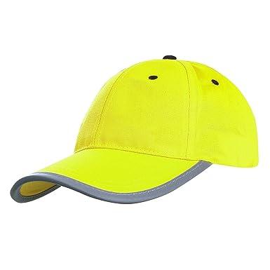 AYKRM Gorro de béisbol Gorra de Alta Visibilidad – Reflectante Visibilidad Seguridad (Amarillo, 59CM