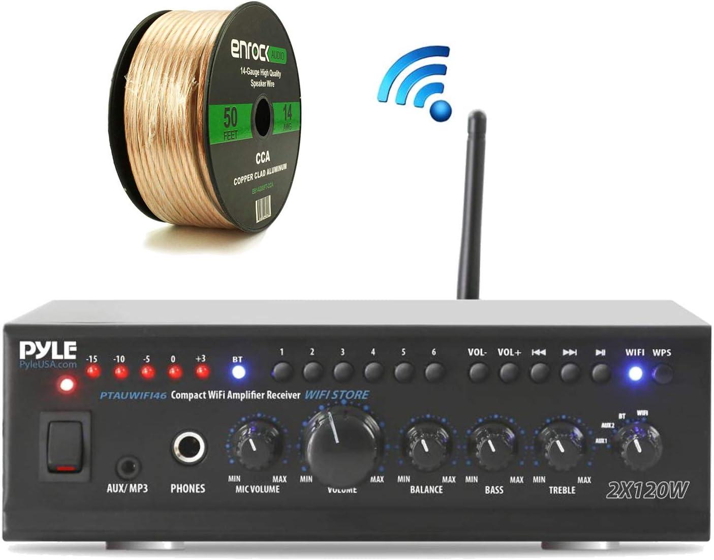 Pyle 240-Watt WiFi Bluetooth Stereo Amplifier Receiver Professional Home Theater Audio System, Enrock Audio 14-Gauge 50 Foot Speaker Wire (No Speaker)