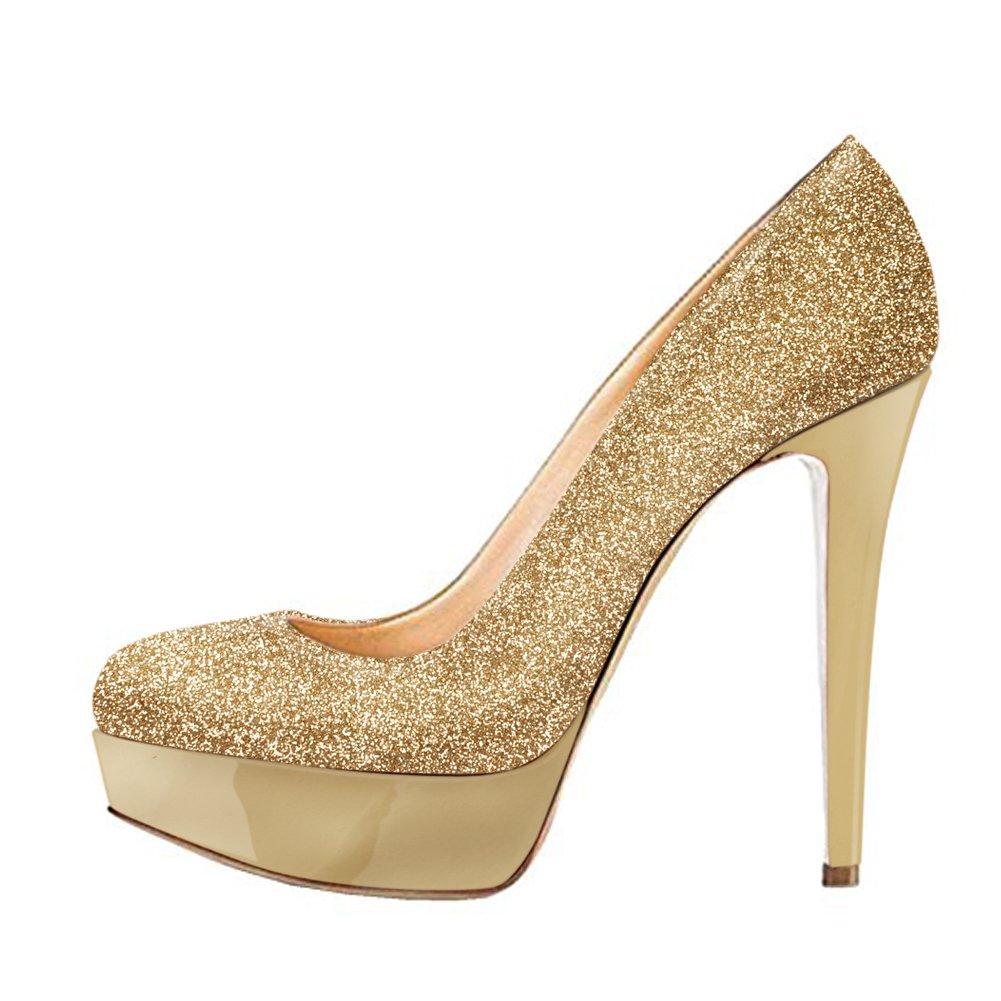 485320d504 Onlymaker Women's Round Toe Super High Heel Platform Stiletto Slip On Pumps  for Wedding Party Shoes Graffiti