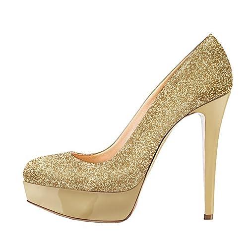 1c278ae5d04 Onlymaker Women's Round Toe Super High Heel Platform Stiletto Slip On Pumps  for Wedding Party Shoes Graffiti
