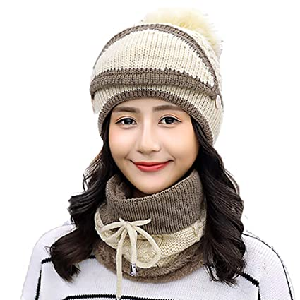 ce98c0cebcc Vovomay hat Winter Beanie Scarf for Womens Hats Circle Scarf Slouchy Skull  Cap- Earmuffs Knit Hat