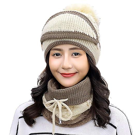 cea40aedab063 Women Winter Hats Warm Fleece Lined Hat Scarf Hooded Mask Knit Beanie Cap  with Cute Pompom