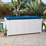 Coastal White Wash Finish Eucalyptus Wood Deck Storage Box Patio Storage Bench With Blue Cushion Outdoor Storage