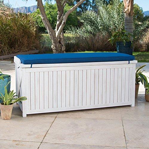 Coastal White Wash Finish Eucalyptus Wood Deck Storage Box Patio Storage Bench With Blue Cushion Outdoor Storage