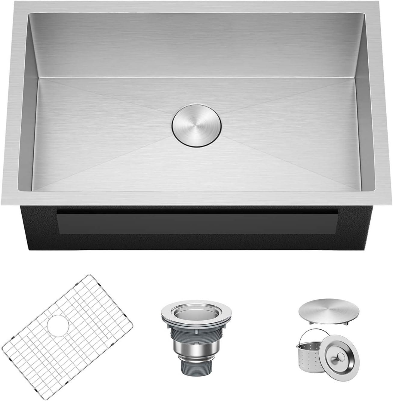 X Home 30 x 18 Inch Undermount Kitchen Sink Single Bowl, 16 Gauge Stainless Steel Kitchen Workstation Sink with R10 Corners, Fits 33 Inch Cabinet