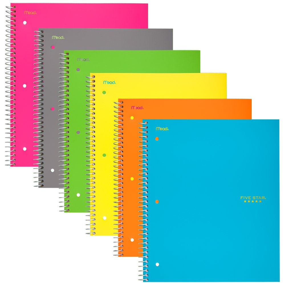 Five Star Spiral Notebooks, 5 Subject, College Ruled Paper, 200 Sheets, 11'' x 8-1/2'', Assorted Colors, 6 Pack (38061)