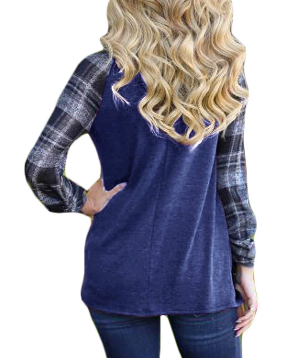 Eanklosco Women Long Sleeve Tops Plaid Patchwork Shirt Casual Round Neck Color Block Tunic Blouse (M, Blue)