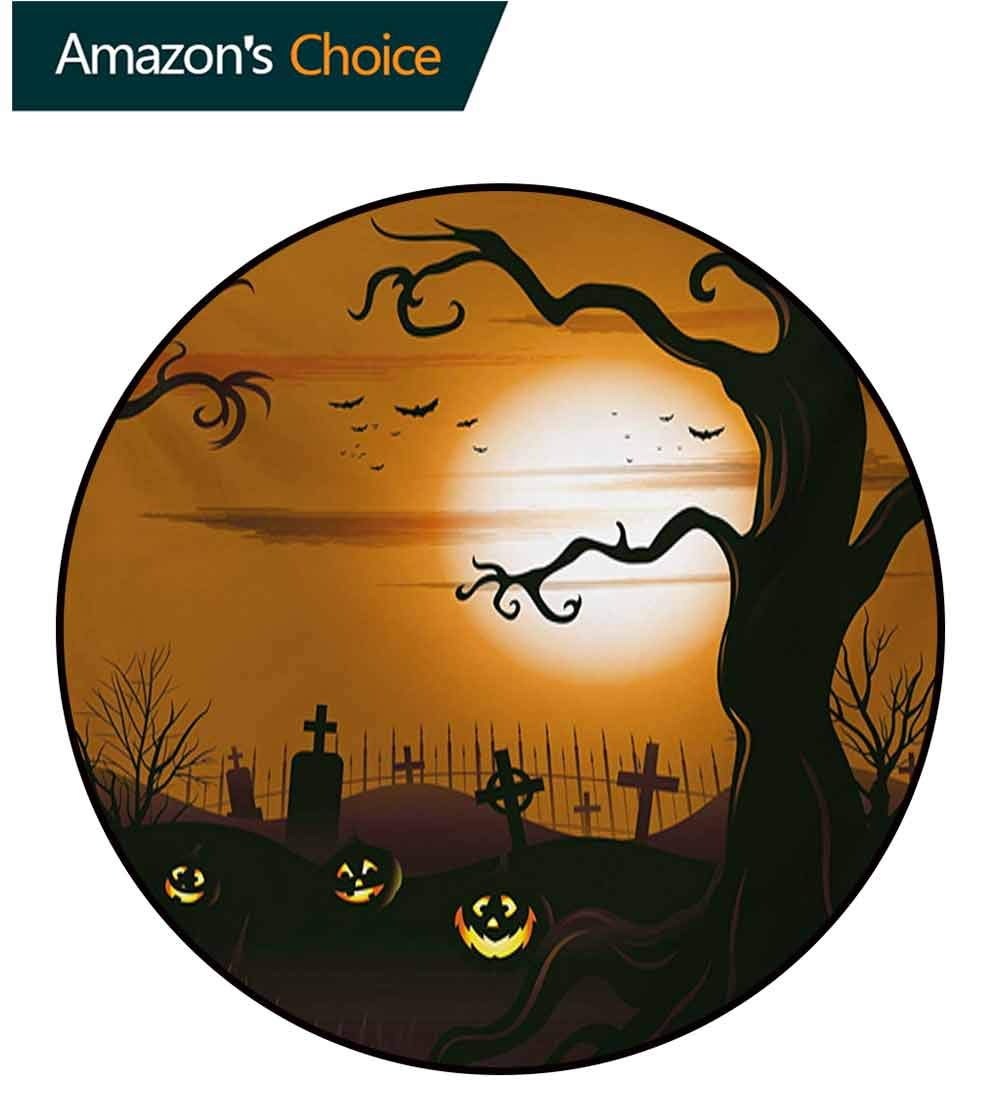 RUGSMAT Halloween Modern Machine Washable Round Bath Mat,Leafless Creepy Tree with Twiggy Branches at Night in Cemetery Graphic Drawing Non-Slip Soft Floor Mat Home Decor,Diameter-71 Inch by RUGSMAT (Image #2)