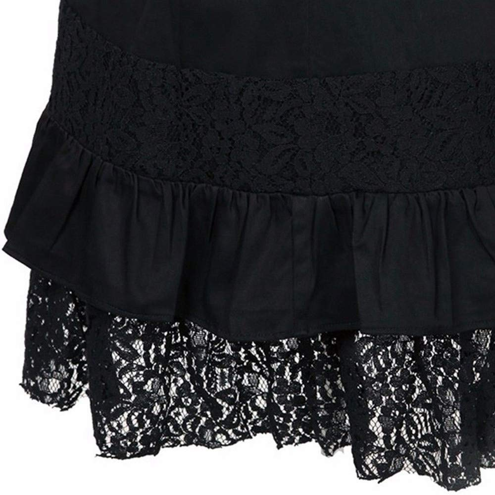 MODOQO Womens Skirt Casual Steampunk Gothic Club Party Vintage Style Lace Skirts