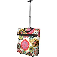 Portable Utility Shopping Cart, Retractable Stainless Steel Rod Hand Truck Large Capacity Shopping Bag with Wheels, Grocery Shopping Trip Storage Bag Luggage Bag