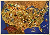 MAP of USA William Gropper America Art Print circa 1897 - measures 24'' high x 36'' wide (610mm high x 915mm wide)