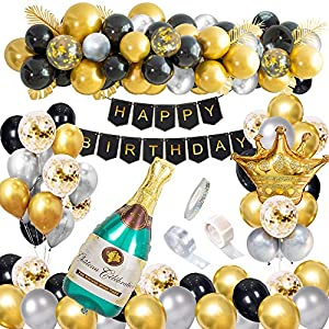 Best Epic Trends 61vYekbQfjL._SS300_ Black and Gold Party Decorations Happy Birthday Confetti Balloons with Banner, Giant Champagne Foil Balloons,Crown…