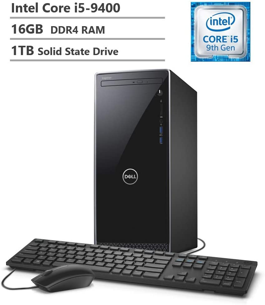 2019 Dell Inspiron 3670 Desktop, 9th Gen Intel Core i5-9400 Six-Core Processor, 16GB RAM, 1TB SSD, WiFi + Bluetooth, HDMI, VGA, Multi-Card Reader, DVD-RW, Windows 10