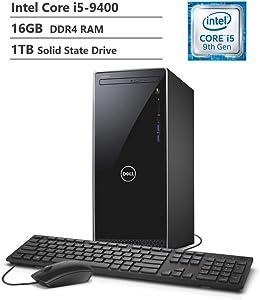 2019 Dell Inspiron 3670 Desktop, 9th Gen Intel Core i5-9400 Six-Core Processor, 16GB RAM, 1TB SSD, WiFi + Bluetooth, HDMI, VGA, Multi-Card Reader, DVD-RW, Windows 10