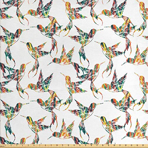 Lunarable Hummingbirds Fabric by The Yard, Grungy Looking Colorful Bird Figures Hawaiian Exotic Fauna Aloha Fun Pattern, Decorative Fabric for Upholstery and Home Accents, 2 Yards, Multicolor -