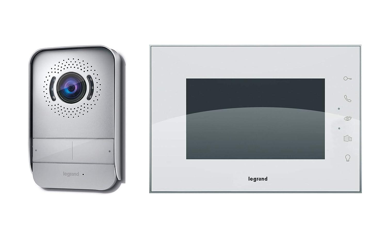 Videoportero Legrand con dos hilos de conexión, monitor a color y cámara con gran angular, 369230