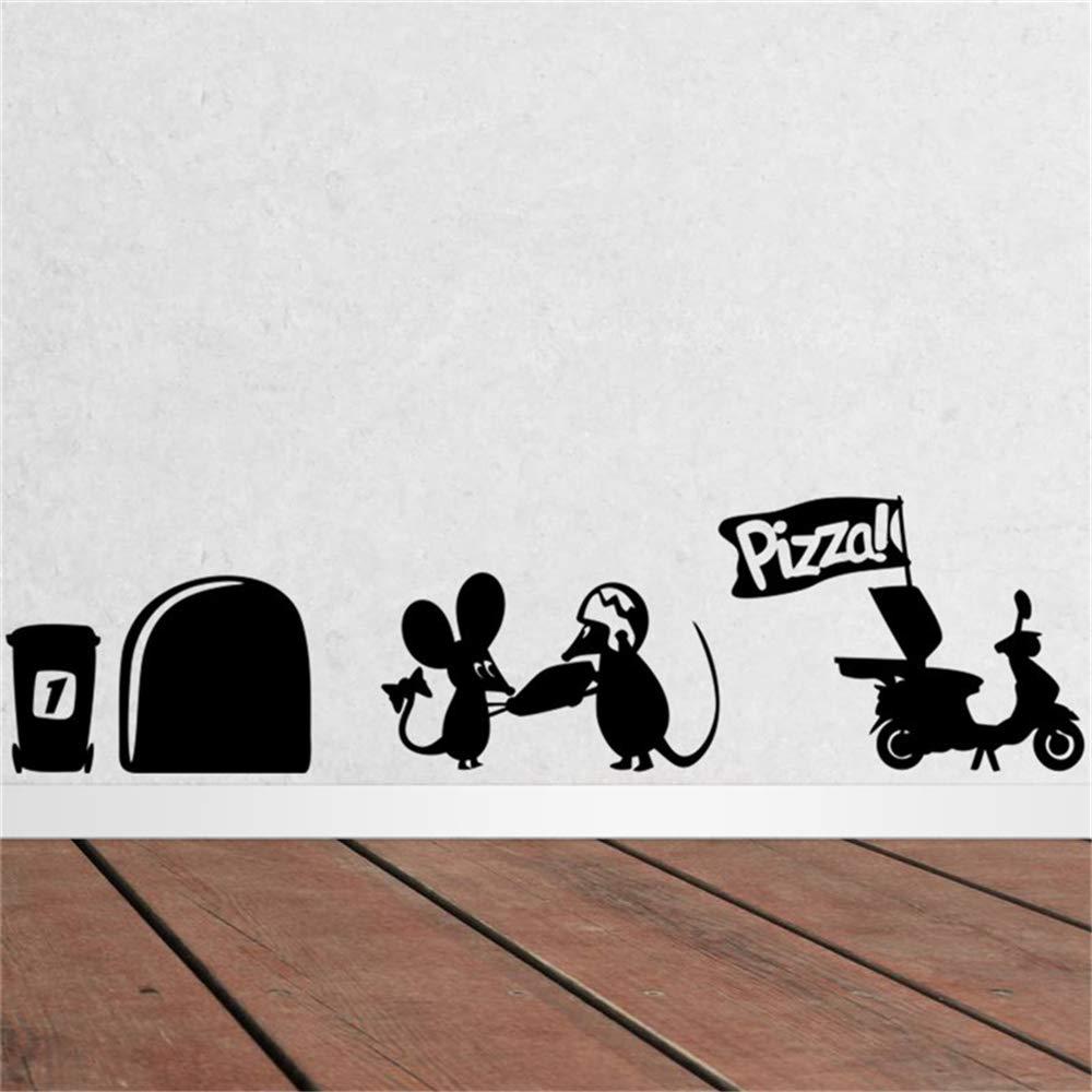 Nero ufengke Buco del Mouse Battiscopa Adesivi Murali Vinile Rimovibile Adesivi da Parete per Bambini Soggiorno Camera da Letto