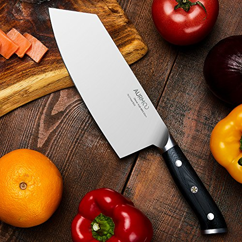 8 Inch Cleaver Knife, Chinese Butcher Knife, Professional Butcher Cleaver High-Carbon Stainless Steel with Ergonomic Handle for Meat & Vegetables by AURMOO (Image #2)