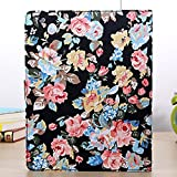 iPad 2/3/4 Case, iBerry(TM) Pretty Floral Flowers Cloth Leather Flip Wallet Case Cover  for Apple iPad 2 3 4 - Black Flowes Holster