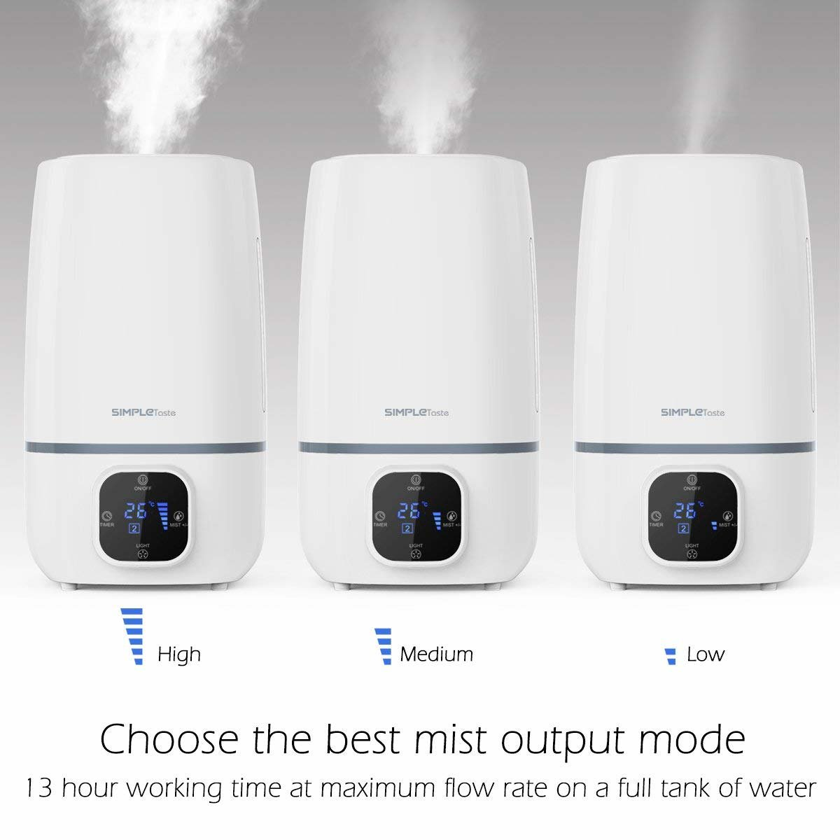 SimpleTaste 4L Ultrasonic Cool Humidifier Aroma Essential Oil Diffuser with LCD Display, 3 Mist Level Control, Timer Setting, and 7 Colors LED Light Whisper-Quiet