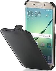 StilGut Slim Case, Custodia per Samsung Galaxy S6 Edge, Nero Vintage