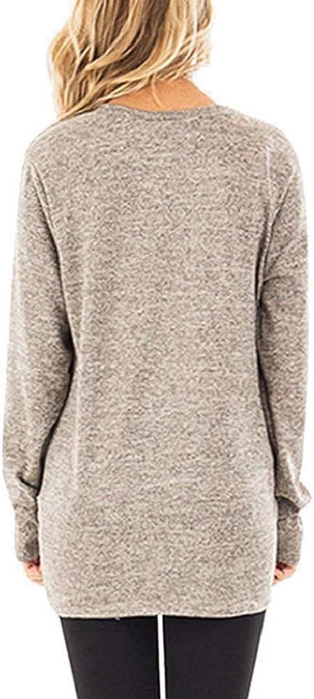 Mujer Camisa Pullover Cuello Redondo Manga Larga Casual Suelto Blusa con Bolsillos Tops sin Hombros Jersey Punto Mujer Invierno Jerseys Camiseta Manga Larga Sueter Luckycat: Amazon.es: Ropa y accesorios