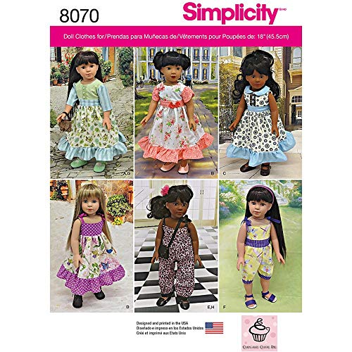 (Simplicity Patterns Vintage Inspired 18 Inch Doll Clothes Size: Os (One Size), 8070 )