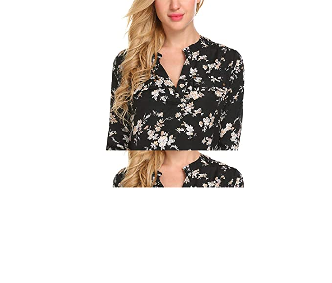 2141a001 Image Unavailable. Image not available for. Color: Micca Bacain Vintage  Blouse Women Roll-Up Cuffed Sleeve Shirts Floral Print ...