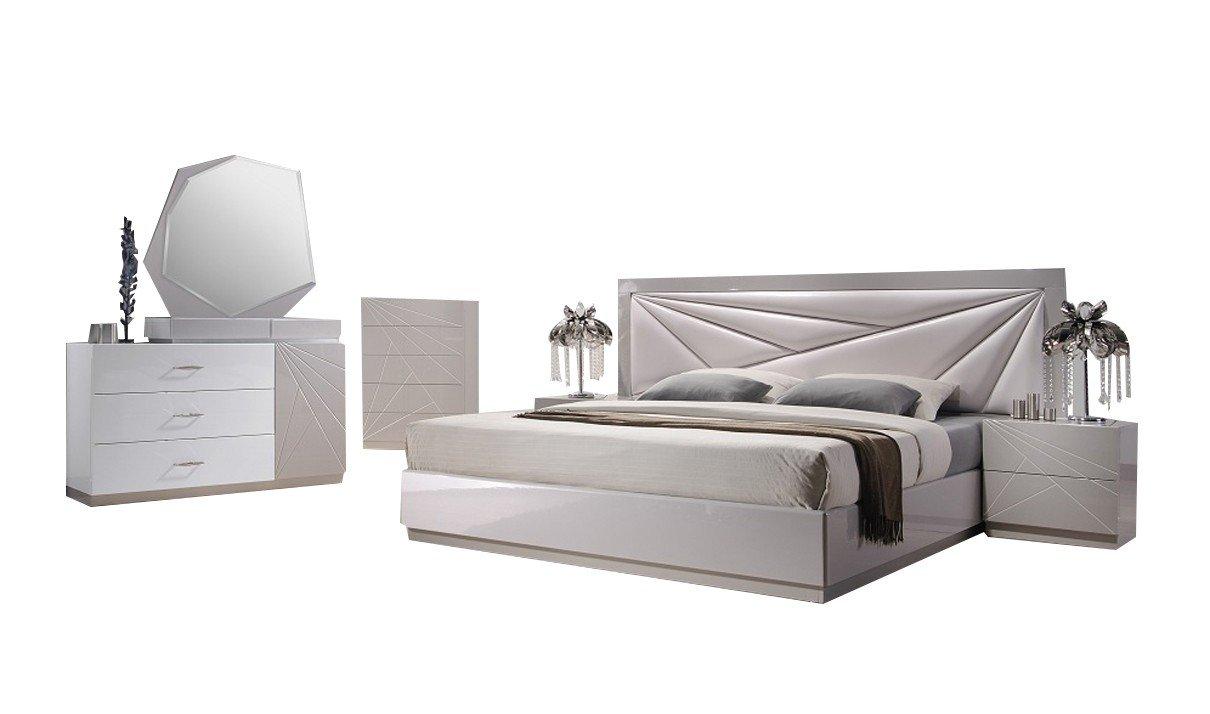 Amazon.com: J&M Furniture Florence White & Taupe Lacquer ...