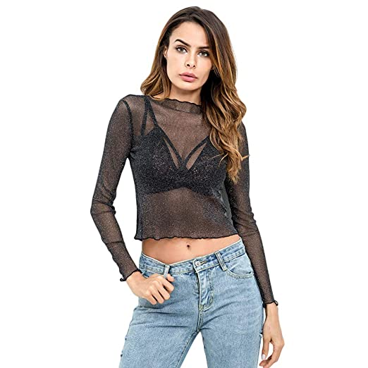 323e592902d885 Women's Ruffle Hem Glitter Sheer Mesh Crew Neck Stretchy Long Sleeve Slim  Fit Crop Top Tee