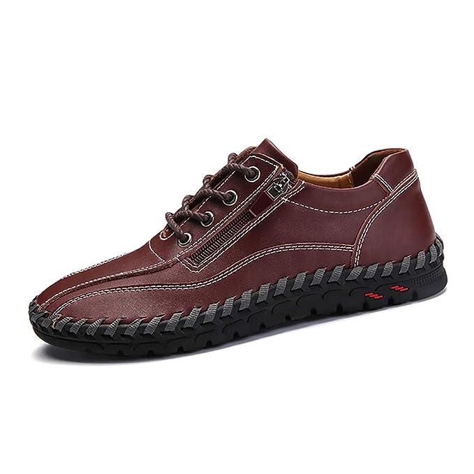 FHTD Calzado de conducción para hombres Resbalón de auto en mocasines de cuero casuales Zapatos cómodos: Amazon.es: Ropa y accesorios