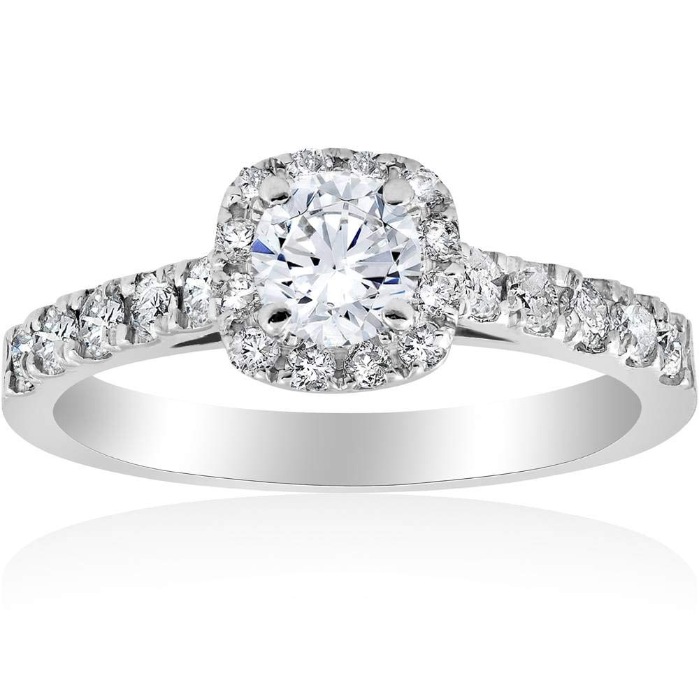 1ct Cushion Halo Diamond Engagement Ring 14K White Gold - Size 4 by P3 POMPEII3 (Image #1)