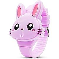 Rabbit Digital Watch for Girls Kids, Learning Time 3D Cute Cartoon Wrist Watch Gift for Kids Girls