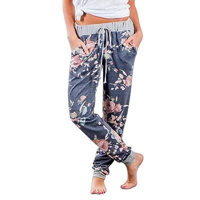 Aelegant Femme Pantalon Casual Longue avec Poche Imprimé Floral Lâche Bouffant pour Printemps Été