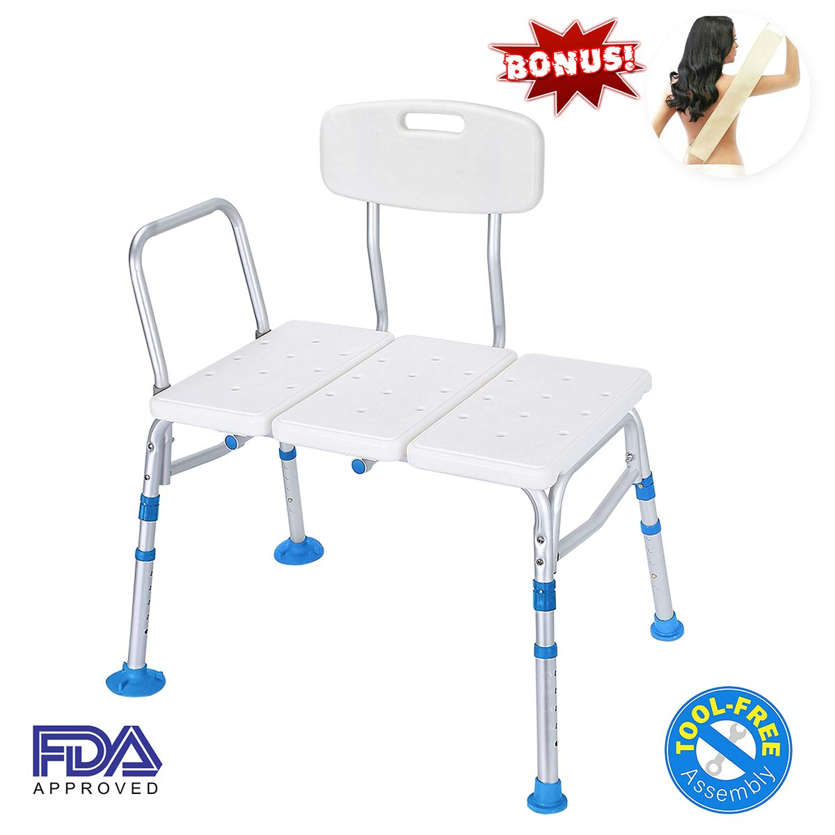 Health Line Tool-Free 400 lbs Transfer Bench Tub Adjustable Shower Bath Chair, Great for Elderly, Disabled, Seniors & Bariatric - Free Loofah Back Scrubber