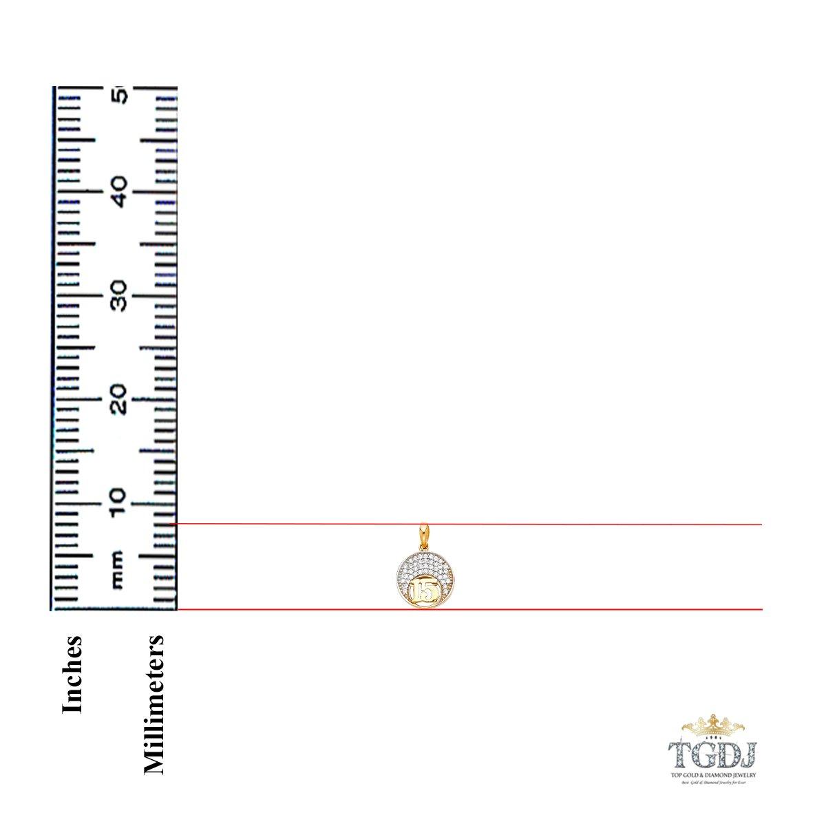 TGDJ 14k Yellow Gold CZ 15 Years Years Pendant Height 8 MM Width 8 MM