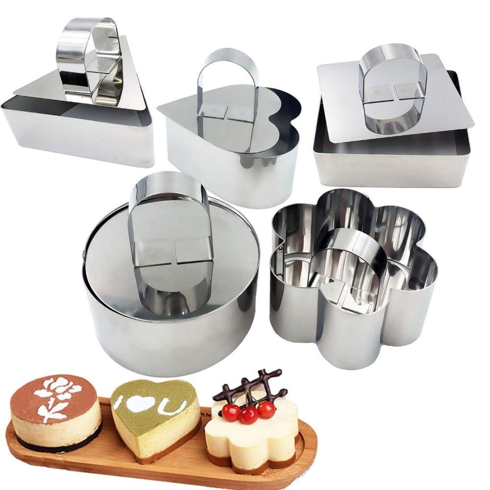 Sonita3008 Stainless Steel Cake Ring 10 Pcs/Set Stainless Steel Cake Ring, 3 X 3 Inch Square Dessert Mousse Mold with Pusher Lifter Cooking Rings