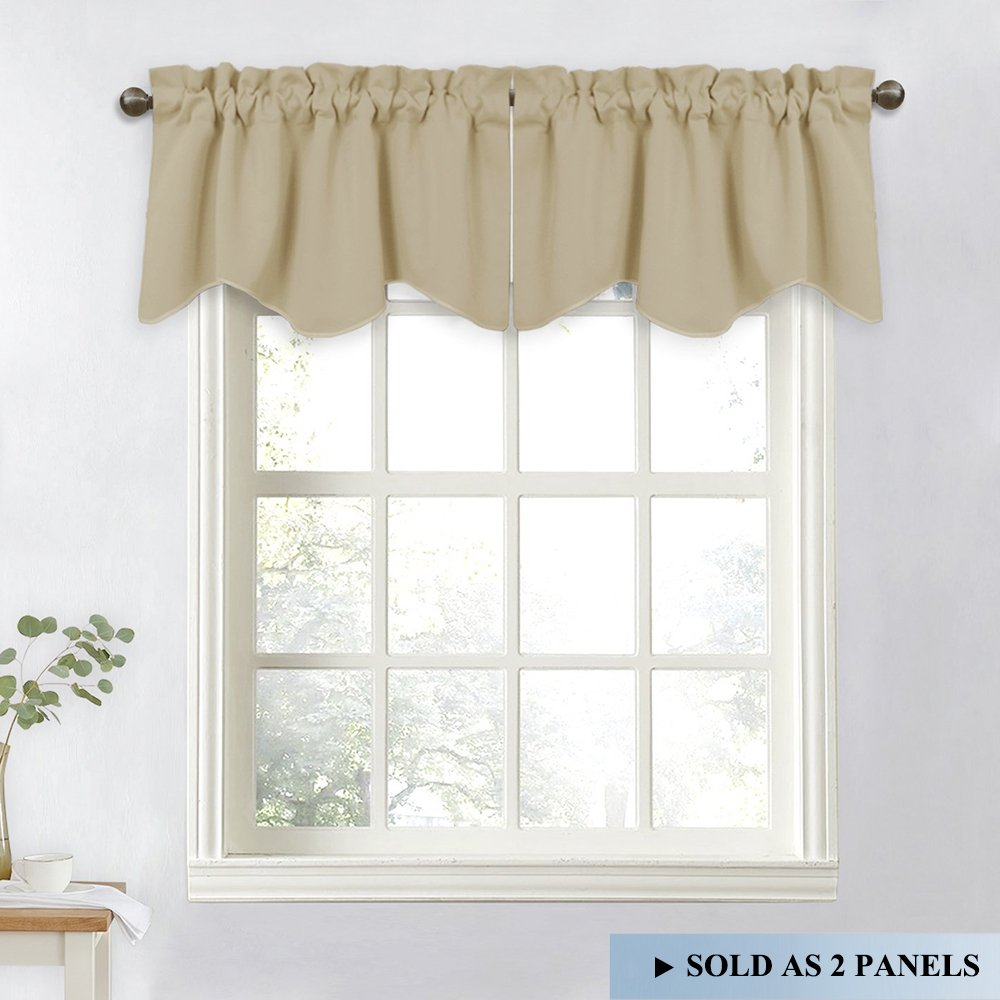 NICETOWN Window Valances for Sliding Door - Blackout Window Curtain 52-inch by 18-inch Rod Pocket Dining Room Tier Valances (Cream Beige, 2 Pieces)