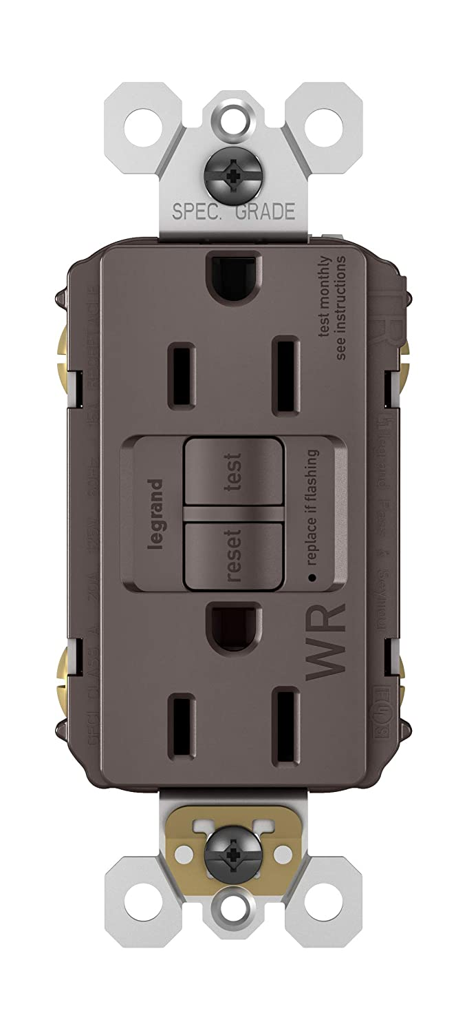 Legrand Pass Seymour Radiant 1597trwr Weather Resistant Tamper Gfci Gfi 15 20 Amp Tr Outlet Receptacle Pro Self Test Brown