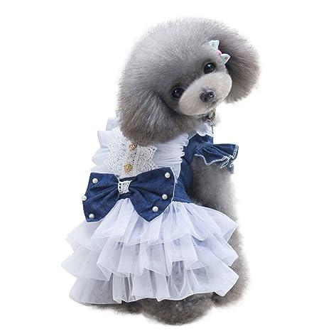 SUMTTER - Ropa para Perros pequeños, para Mujer, Vestidos, Denim, Cachorro,