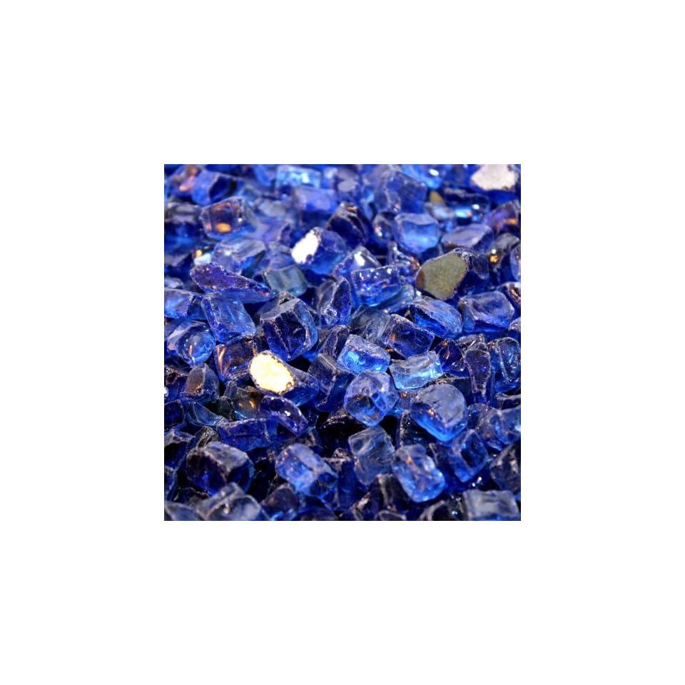 Fireplace Glass Fire Pit Glass  Cobalt Blue Reflective 1/2 Inch   25 Lbs