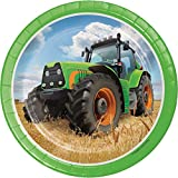 "Creative Converting 8 Count Sturdy Style Paper Dessert Plates, 7"", Tractor Time"