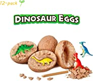 ideapro Dig Up Dinosaur Fossil Eggs 12-Pack, Dig Kit Fossil Eggs and Discover Dinosaurs, Funny Dinosaur Digging Toy for 3 4 5