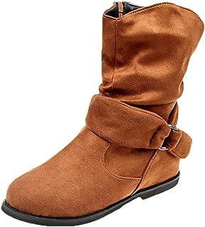 Hunzed Women's mid-Boots Zipper Shoes Women Flat Booties Soft Shoes Ankle Boots