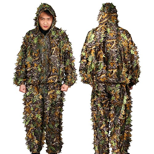 TargetEvo Leafy Hunting Ghillie Suit Hooded Camouflage Clothing includes Jacket Trousers for Airsoft Halloween -
