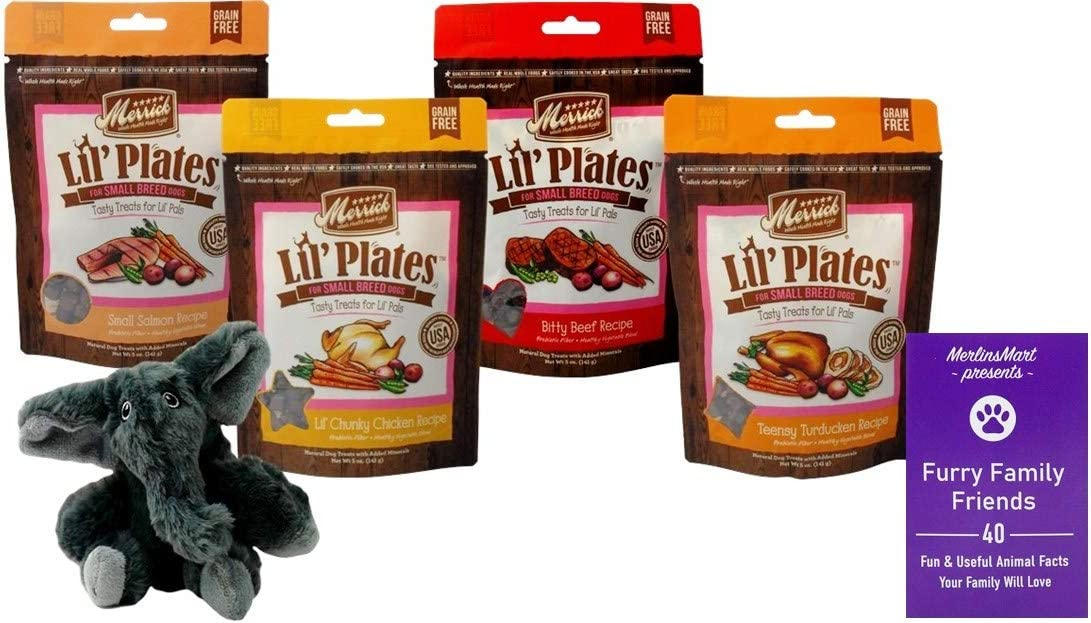Merrick Lil' Plates Grain Free Small Breed Dog Treats 4 Flavor Variety (1) Each: Salmon, Chicken, Beef, Turducken (5 Ounces)   Plus Kong Comfort Toy and Fun Facts Booklet Bundle